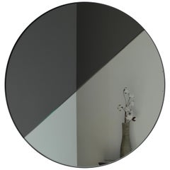 Modernist Tinted Dualis Orbis™ Round Mirror Black Frame, Medium, Customizable