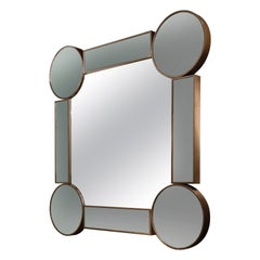Square Mirror Drummond, in Oak and Fumé Glass, Italy