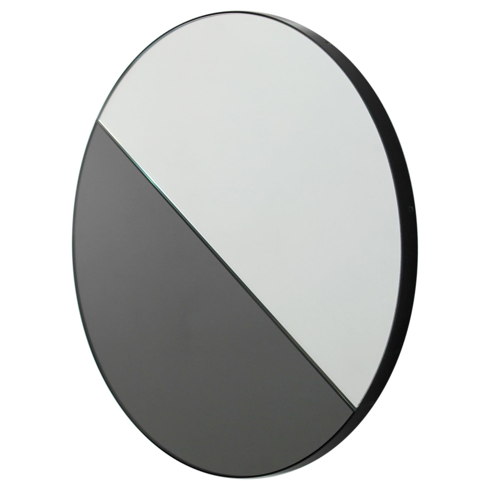 Orbis Dualis™ Mixed Tint Decorative Round Mirror with Black Frame - Large