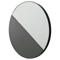 Bespoke Contemporary Decorative Dualis Orbis™ Round Mirror Black Frame, Large