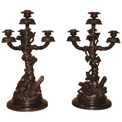 Pair of Unusual 19th Century Black Forest Candelabras