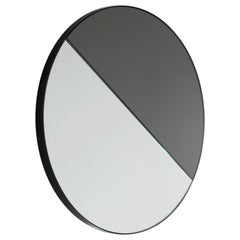 Orbis Dualis™ Mixed Tint Modern Round Mirror with Black Frame - Oversized