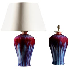Pair of Red and Blue Chinese Flambé Vases as Table Lamps