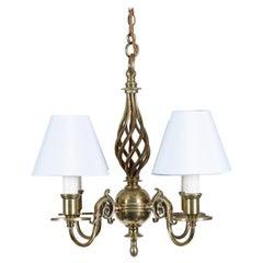 Brass 4-Light Flemish Style Chandelier with Twist Stem