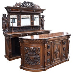 19th Century Antique English Victorian Carved Oak Front and Back Bar