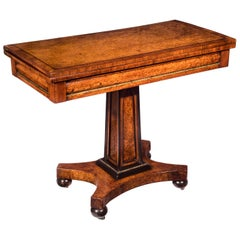 Regency Burl Amboyna, Ebonised and Brass Mounted Hall Table or Card Table