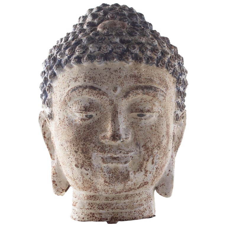 Cast Iron Bust of Budda For Sale