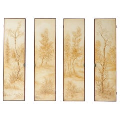 Set of Four Italian Painted Decorative Wall Panels, 1950s