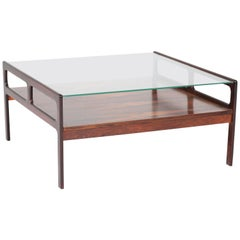 Rosewood Scandinavian Mid-Century Modern Coffee Table with Glass Top, 1960s