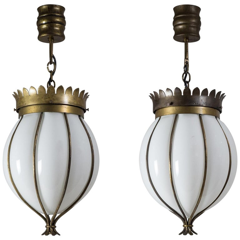 Pair of Italian Wrought Cage Pendants For Sale