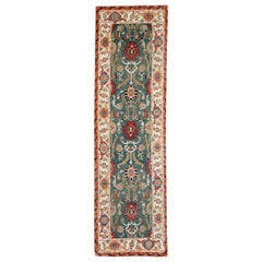 Green, Gold and Red Contemporary Handmade Wool Turkish Oushak Runner