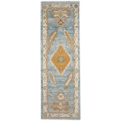 Blue, Gold and Ivory Contemporary Handmade Wool Turkish Oushak Runner