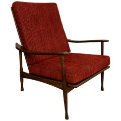 Danish Modern High Back Maple Lounge Chair