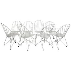 Mid-Century Modern White Metal Vintage Garden Chairs Auersperg by Sonett
