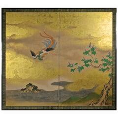 18th Century Kano School Golden Painted Folding Screen with Phoenix