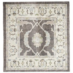 Brown and Ivory Contemporary Handmade Wool Turkish Oushak Rug