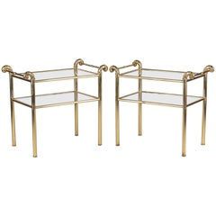 Pair of French Mid-Century Brass Side Tables with Glass Tops