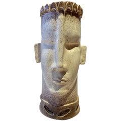 Monumental Taupe Ceramic Sculpture Artisan Face Vase