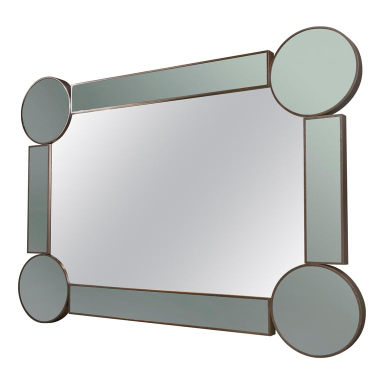 Rectangular Mirror Drummond, in Oak and Fumé Glass, Italy For Sale