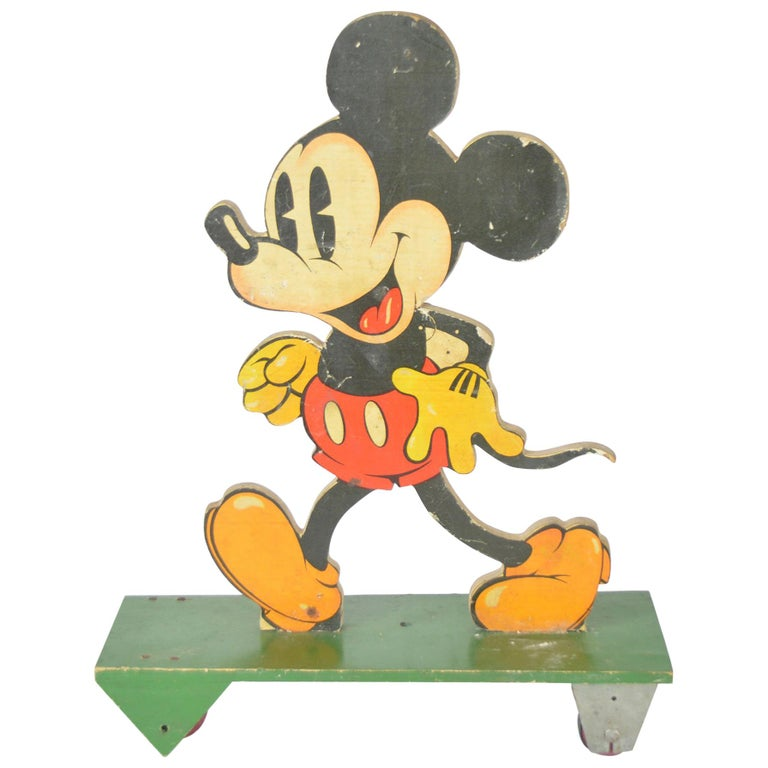 Vintage Pull Along Mickey Mouse on Wheels, 1930s For Sale