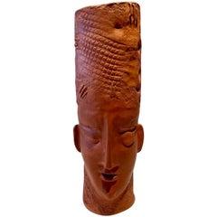 Monumental Terracotta-Ceramic Native Double Face Vase