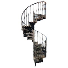 20th Century Art Nouveau Style Cast Iron Spiral Staircase from Spain