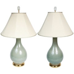 Elegant Pair of Celadon Crackle Table Lamps