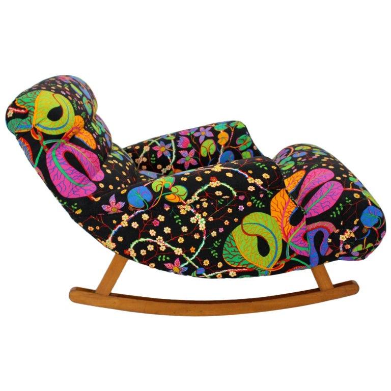 Josef Frank Adolf Loos Multicolored Wood Art Deco Era Vintage Rocking Chair 1920 For Sale