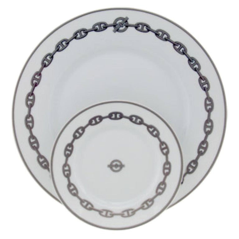 Set of 8 Hermes Place Settings in Chaine D'Ancre in Gray For Sale