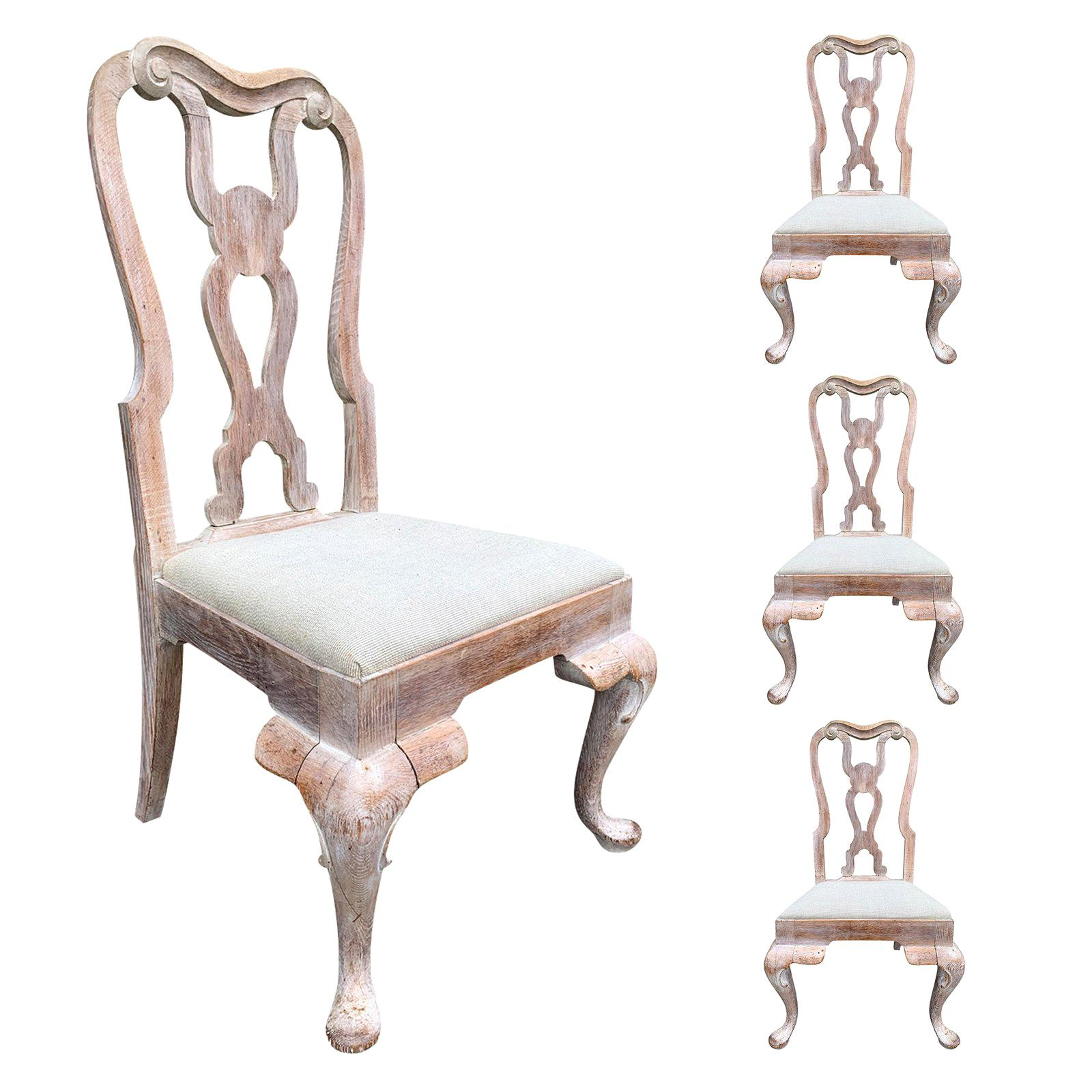 Set of Four 18th-19th Century English Stripped Oak Side Chairs
