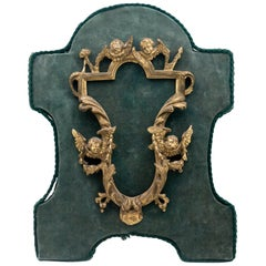 18th Century French Rococo Gilded Bronze Frame Mounted on Green Velvet