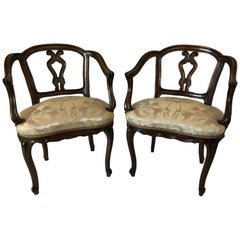 Pair of Venetian Late 19th Century Rococo Style Walnut Armchairs