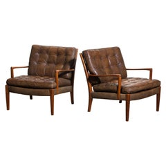 """Pair of Leather Easy or Lounge Chairs Model """"Loven"""" by Arne Norell Ab, Sweden"""