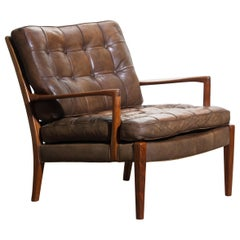 """1960s Walnut / Leather Easy / Lounge Chair Model """"Loven"""" by Arne Norell Sweden."""