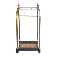 19th Century English Brass and Iron Umbrella Stand, Curved Top