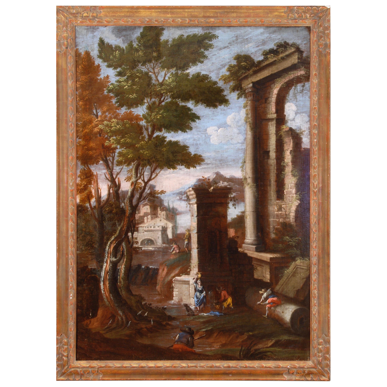 18th Century Ruins Landscape Attributed to Bartolomeo Pedon