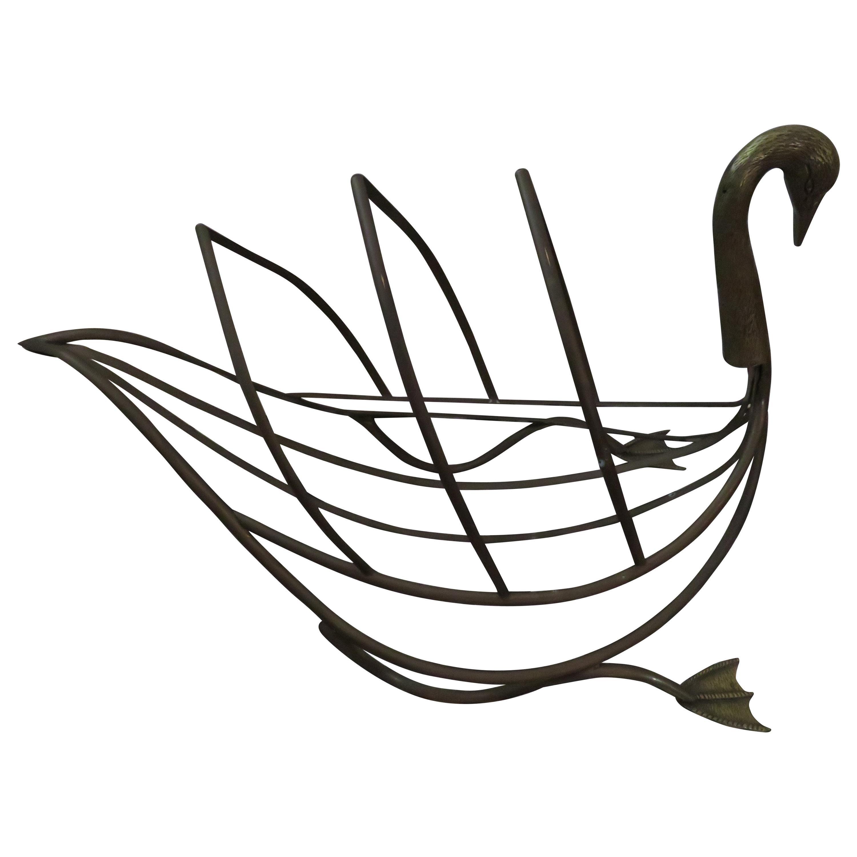 Whimsical Maison Jansen Italian Swan Magazine Rack Brass Mid-Century Modern