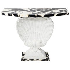 White Painted Scallop Shell Console