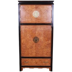 Century Furniture Black Lacquer and Burl Wood Chinoiserie Armoire Dresser