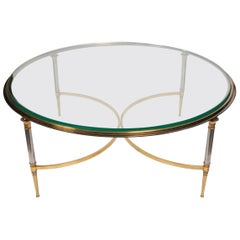 Brass and Polished Steal Coffee Table by Maison Jansen