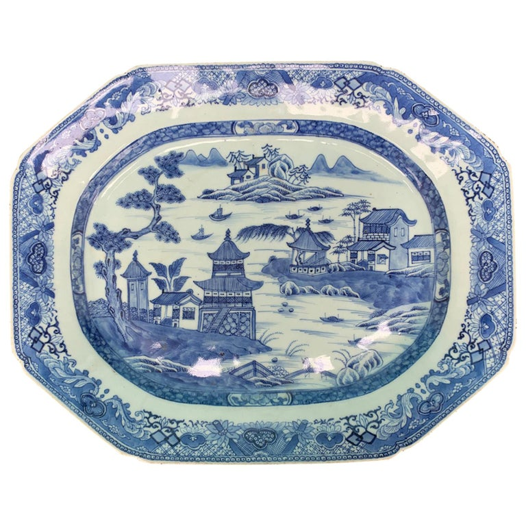 18th-19th Century Chinese Canton Blue and White Charger For Sale