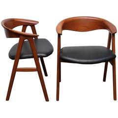 Teak No. 52 Compass Chairs by Erik Kirkegaard for Høng Stolefabrik