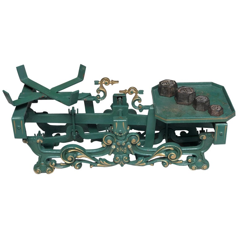 20th Century Swiss Balance Scale in Green with Complete Set of Weights For Sale