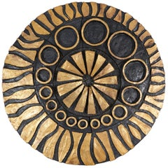 Whimsical Gold and Black Ceramic Wall Decoration by Charles Sucsan