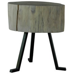 Live Edge Round Side Table - Midcentury Modern Furniture - Sputnik Table