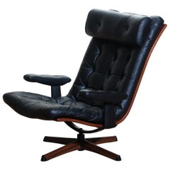1960s, Black Leather Swivel Chair With Jakaranda Stand by Gote Design Nassjo