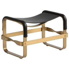 Wanderlust Footstool Aged Brass Steel and Black Vegetable Leather