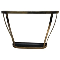 Italian Brass and Black Glass Architectural Console Table