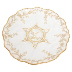 Oyster Plate by Limoges France, Scalloped Shape and Hand Painted Gold