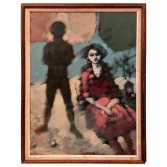 Original Mid-Century Modern Artist Signed Painting Dunn, 1957